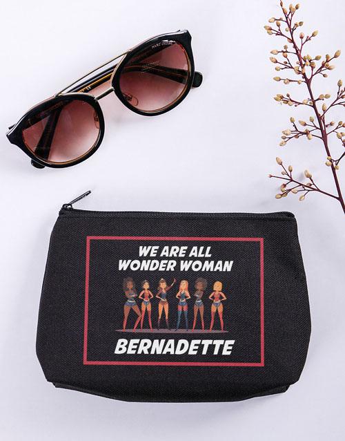 bath-and-body: Personalised Wonder Woman Black Cosmetic Hamper!