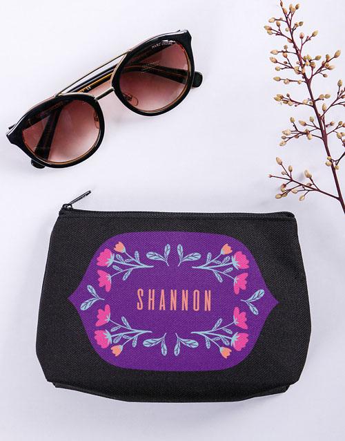 personalised: Personalised Flower Flair Black Cosmetic Hamper!