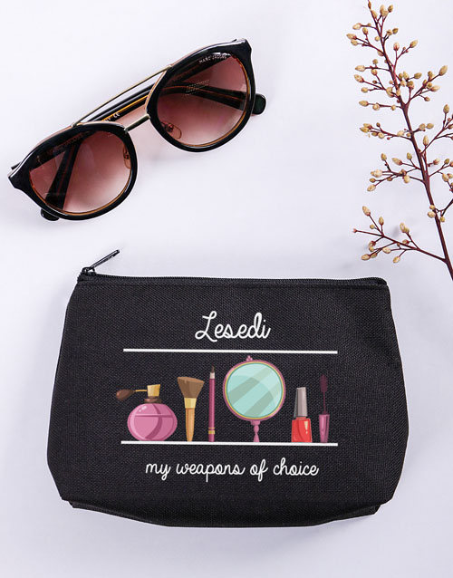 bath-and-body: Personalised Weapons Of Choice Black Cosmetic Bag!