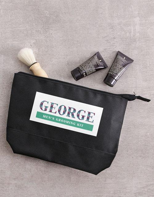 bath-and-body: Personalised Mens Black Grooming Wash Bag Gift!