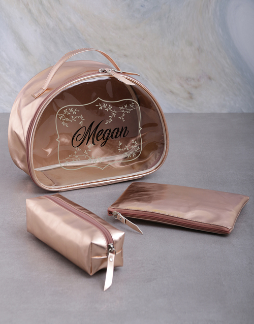 gifts: Personalised Rose Gold Vanity Bath And Body Set!