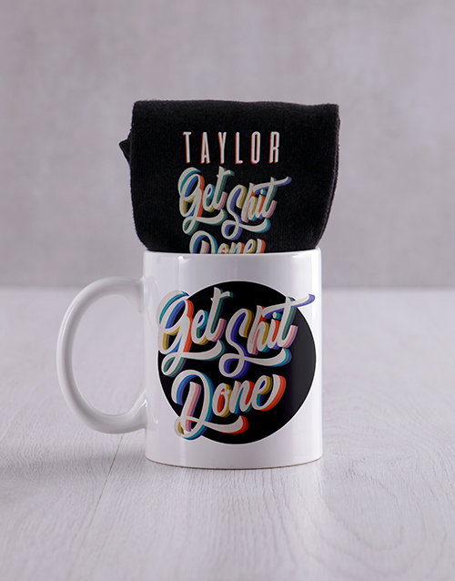 fathers-day: Personalised Get It Done Socks & Mug!