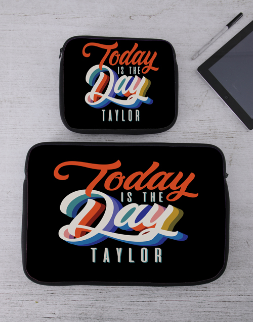 new-years: Personalised Today Tech Device Sleeve!