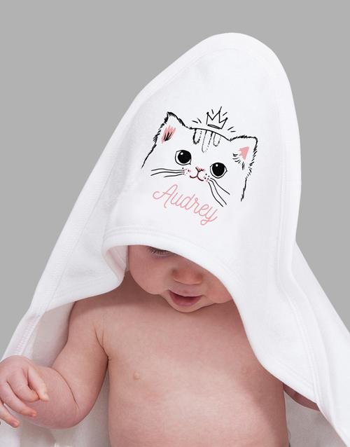 baby: Personalised Kitten Hooded Towel!