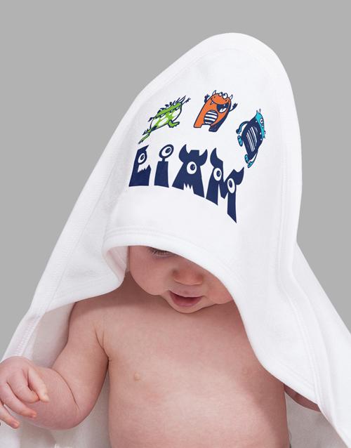 personalised: Personalised Little Monster Hooded Towel!