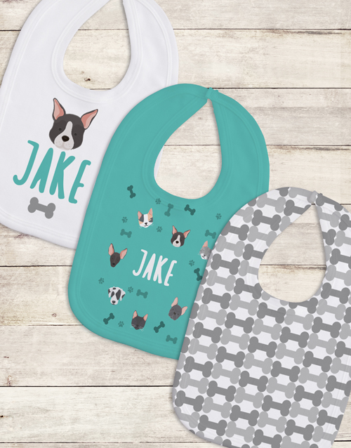 baby: Personalised Set of Puppy Love Bibs!