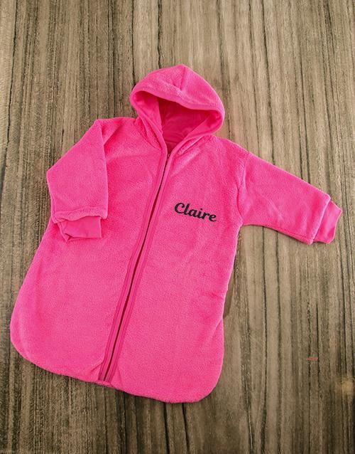 baby: Personalised Pink Fleece Baby Sleeping Jacket!
