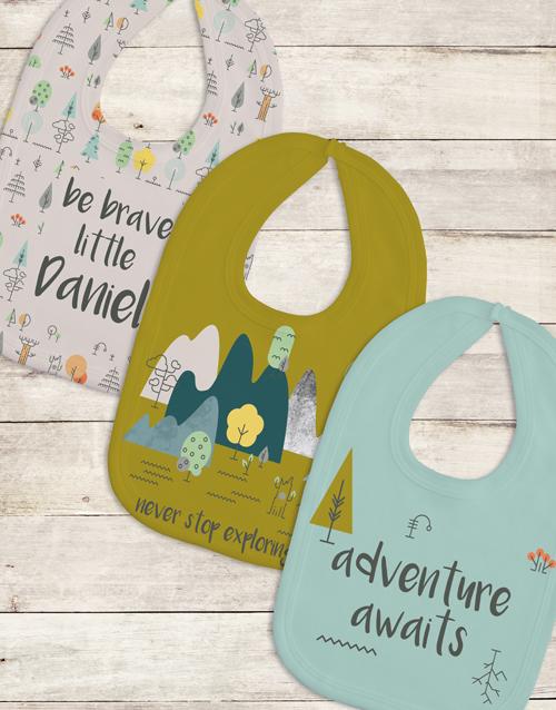 baby: Personalised Set of Adventure Bibs!
