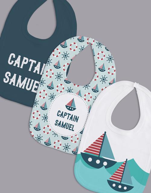 baby: Personalised Set of Captain Bibs!
