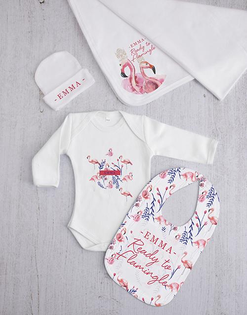 baby: Personalised Flamingle Baby Gift Set!