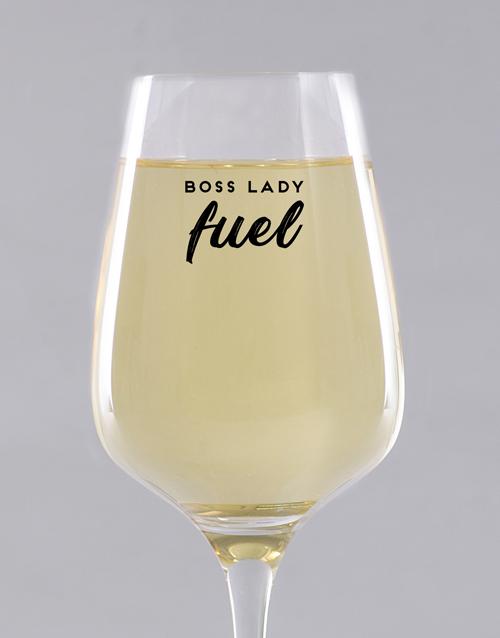 homeware: Personalised Boss Lady Fuel Wine Glass!