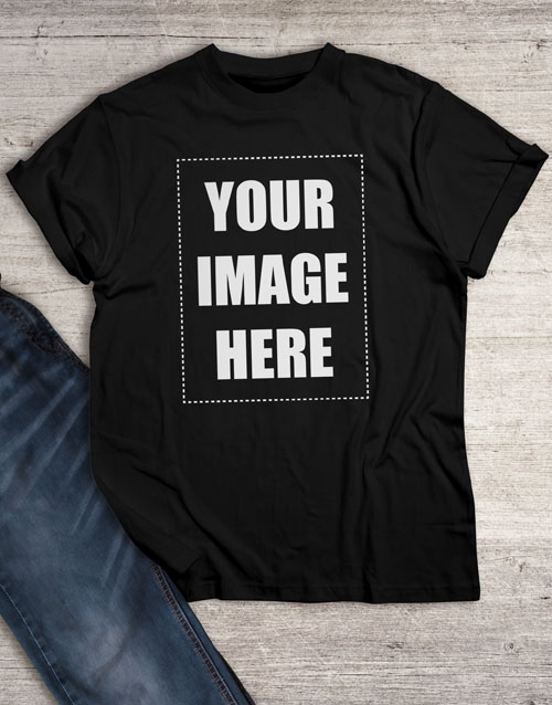 clothing: Personalised Own Image Black T Shirt!