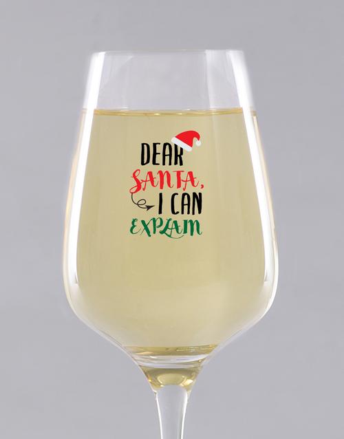 christmas: Personalised Dear Santa Wine Glass!
