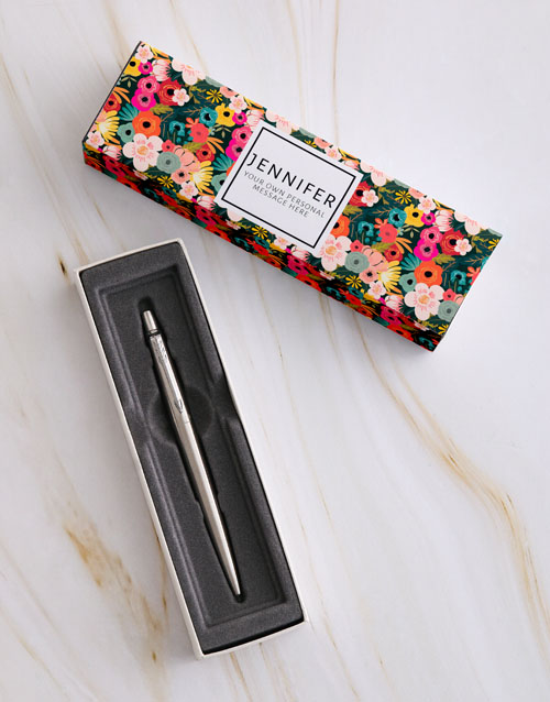 personalised: Personalised Floral Parker Pen Sleeve Box!