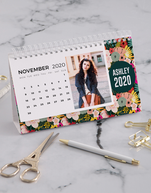 christmas: Personalised Bright Floral Desk Calendar!