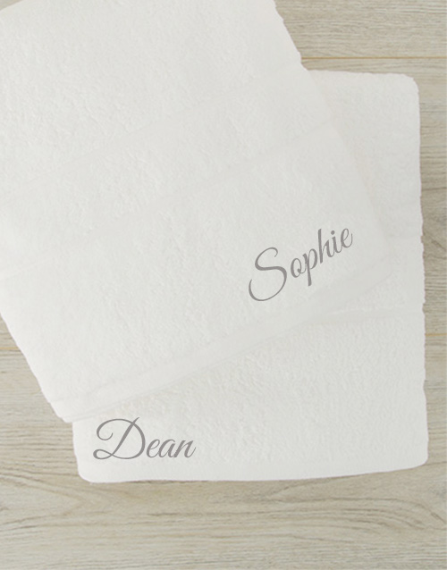 mothers-day: Personalised White Bath Sheet Set!