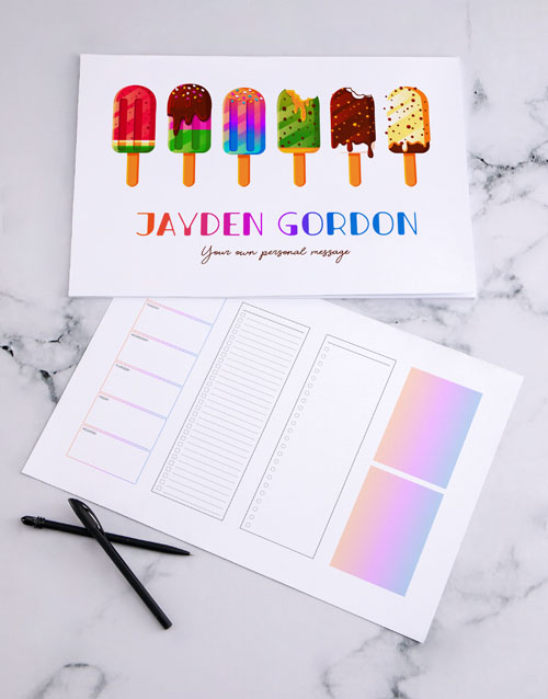 christmas: Personalised Fun Ice Cream Desk Pad!