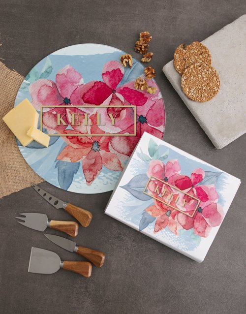homeware: Personalised Floral Name Cheese Knives !