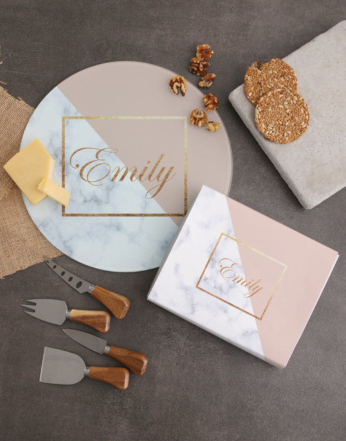 homeware: Personalised Marble Cheese Knives!
