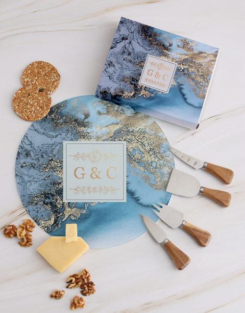 homeware: Personalised Couples Geode Cheese Knives !