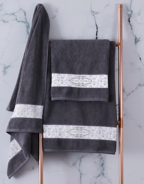 bath-and-body: Personalised Vintage Charcoal Towel Set!
