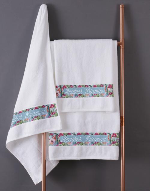 towels: Personalised Botanical White Towel Set !