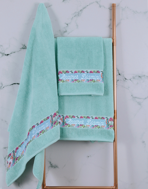 mothers-day: Personalised Botanical Duck Egg Towel Set !