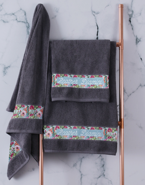 bath-and-body: Personalised Botanical Charcoal Towel Set!