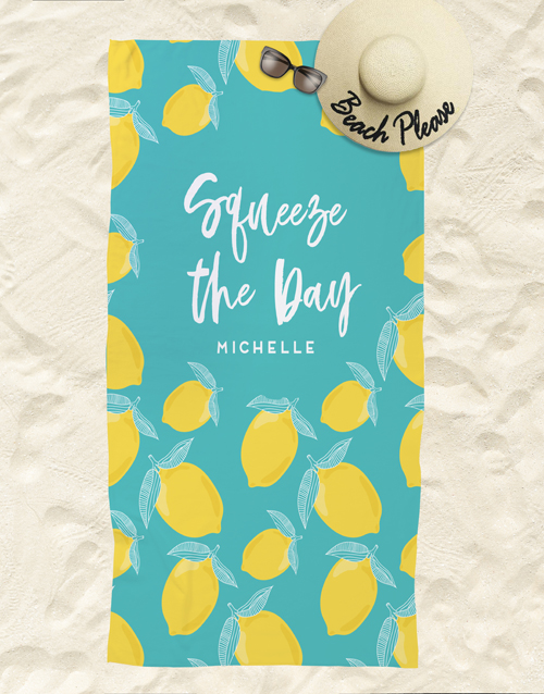 personalised: Personalised Squeeze The Day Beach Towel!