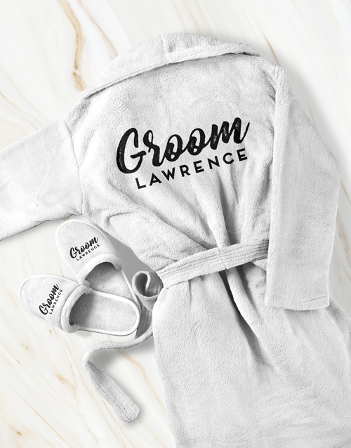 bosses-day: Personalised Groom Gown and Slipper Set!