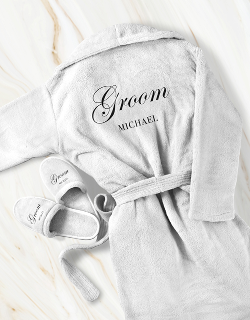 fathers-day: Personalised Cursive Groom Gown and Slipper Set!