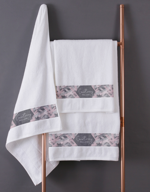 towels: Personalised Geometric Print White Towel Set!