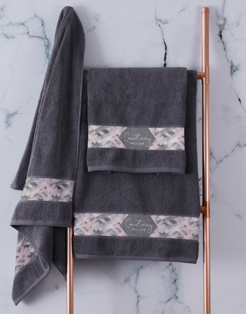 bath-and-body: Personalised Geometric Print Charcoal Towel Set!