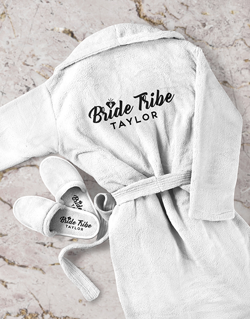 bosses-day: Personalised Bride Tribe Gown and Slipper Set!