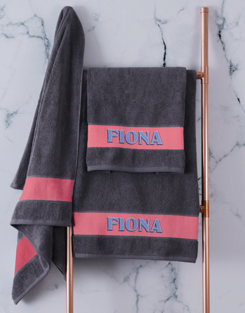 spring-day: Personalised Bold Print Charcoal Towel Set!