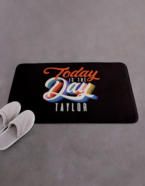 christmas: Personalised Today Is The Day Bath Mat!