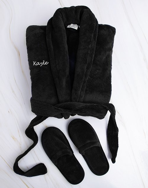 fathers-day: Personalised Black Fleece Gown and Slipper Set !