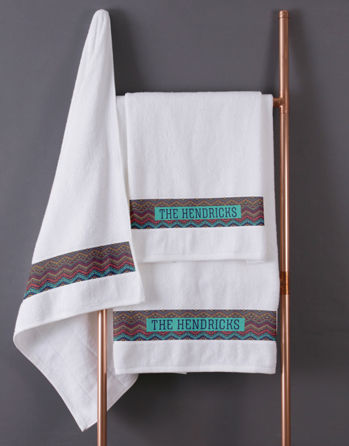 bath-and-body: Personalised Afro Geometric White Towel Set!