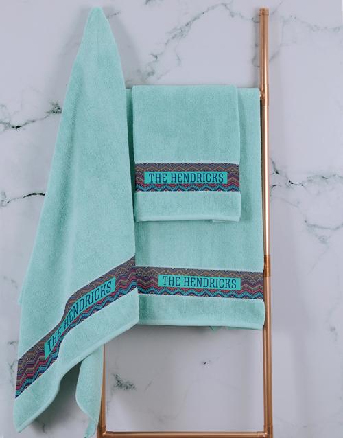 towels: Personalised Afro Geometric Duck Egg Towel Set!