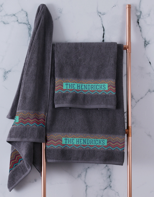 spring-day: Personalised Afro Geometric Charcoal Towel Set!