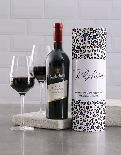 fine-alcohol: Personalised Colourful Leopard Print Wine Tube!