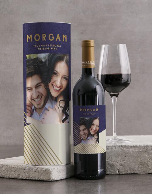 fine-alcohol: Personalised Modern Blue Geo Wine Tube!