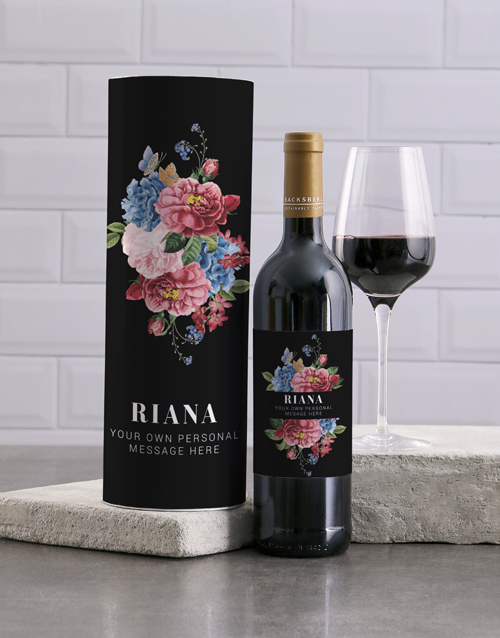 fine-alcohol: Personalised Manila Floral Wine And Tube Gift!