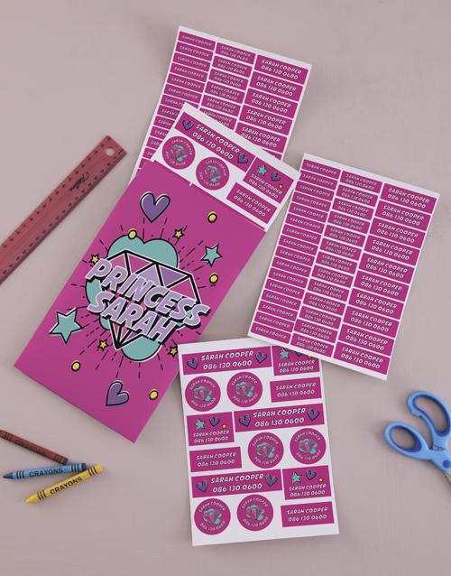christmas: Personalised Princess School Stickers!
