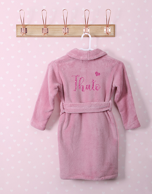 personalised: Personalised Glitter Heart Pink Fleece Gown!
