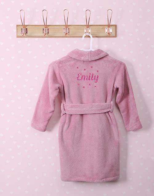 personalised: Personalised Glitter Stars Pink Fleece Gown!