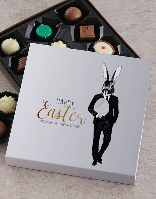 personalised: Personalised Bunny Face Happy Easter Tray!