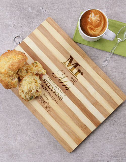 valentines-day: Personalised Mr and Mrs Wooden Chopping Board!