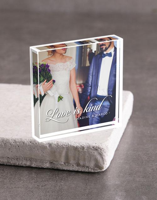 anniversary: Personalised Love Is Kind Acrylic Block!