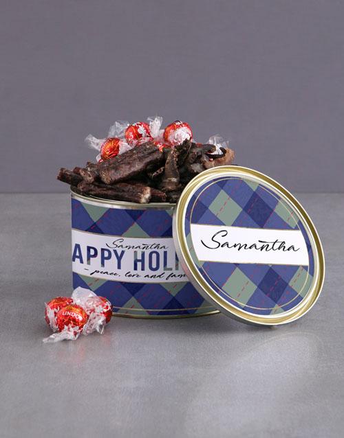 christmas: Personalised Happy Holidays Bilton Tin!